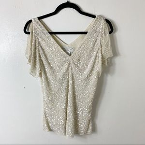 Vintage Papell Boutique Evening Cream Beaded Top M